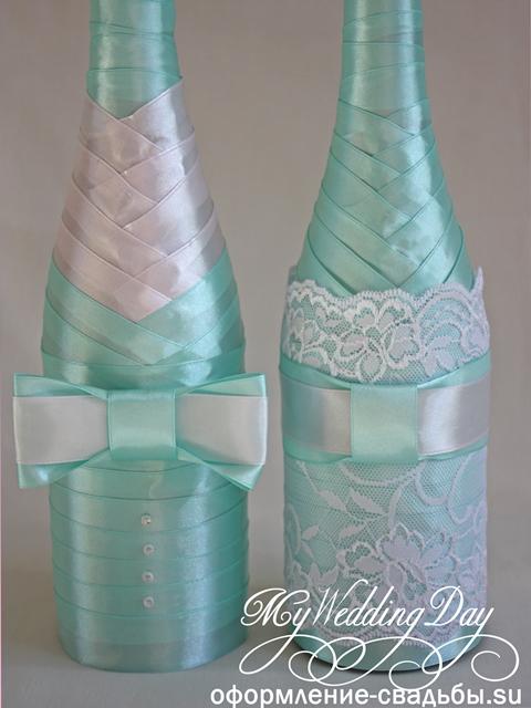 Как оригинально украсить свадебные бутылки своими руками